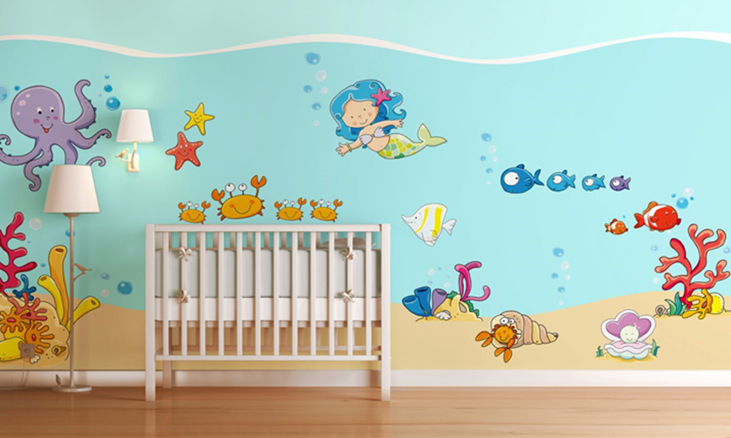 Stickers murali bambini cameretta tra i coralli for Decorazioni adesive per mobili